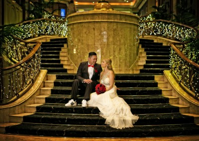 Langham Hotel wedding stairs